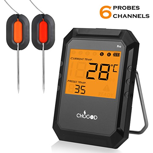 Bluetooth Digital Cooking Kitchen Food Meat Thermometer with Alarm Monitored by iPhone & Android APP Supports 6 Probes for Smoker Grill Oven BBQ Milk Candy By WEINAS (Comes with 2 Probes)