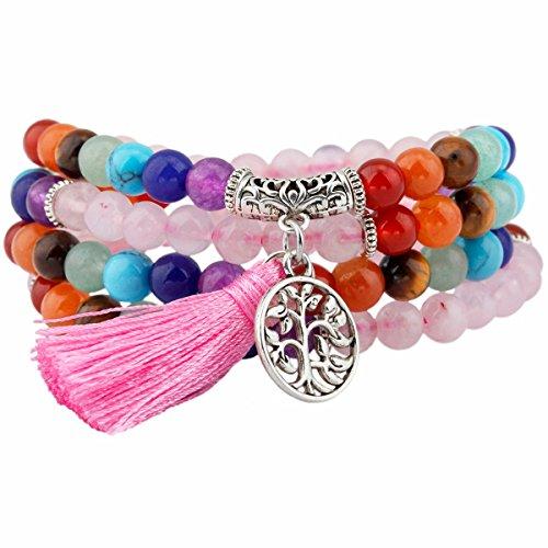 TUMBEELLUWA Beaded Bracelet Multilayer Yoga Meditation Mala Beads with Tree of Life Tassel Charms, Rose Quartz