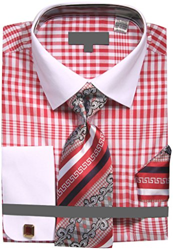 Sunrise Outlet Men's Two Tone Plaid French Cuff Dress Shirt With Tie Handkerchief Cufflinks - Red 20.5 - Mens Outlets
