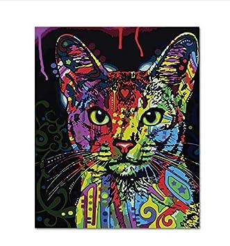 Pintura Por Números Resumen Animal Gato Decoración De Pared Diy Cuadro Pintura Al Óleo Sobre Lienzo Para Decoración Para El Hogar Fotos Sin marco,40x50cm: ...