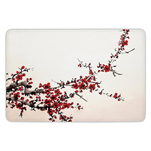 Bathroom Bath Rug Kitchen Floor Mat Carpet,Art,Elegance Cherry Blossom Sakura Tree Branches Ink Paint Stylized Japanese Pattern Decorative,Red Cream Brown,Flannel Microfiber Non-slip Soft Absorbent ()