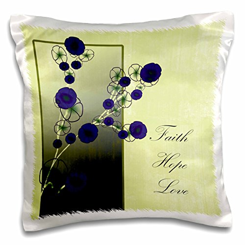 PS Inspirations - Inspirational Faith, Hope and Love Purple Flowers - 16x16 inch Pillow Case (pc_79110_1)