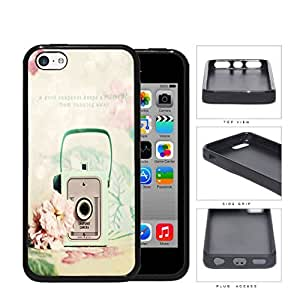Mint Vintage Snapshot Camera With Rose Flower Rubber Silicone TPU Cell Phone Case Apple iPhone 5c