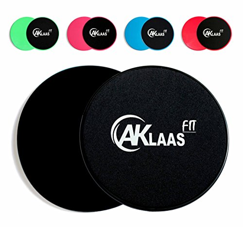 AKLAAS Fit Core Sliders Exercise Gliding Discs Dual Sided for use on Carpet, Hardwood or Virtually Any Surface. Workout Sliders - Perfect Abdominal Exercise Equipment for All Body Workout [Black]
