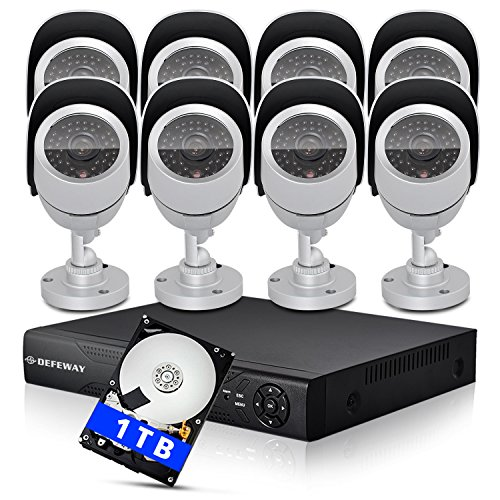 DEFEWAY Security System with 8 Ch 960H DVR/NVR/HVR 3 in 1 Hybrid DVR HDMI QR-Code eCloud DVR(1TB HDD) + 8 Pcs 800TVL Waterproof Outdoor Indoor 42 IR-LEDs 100ft Night Owl IR-CUT IP66 Security Camera