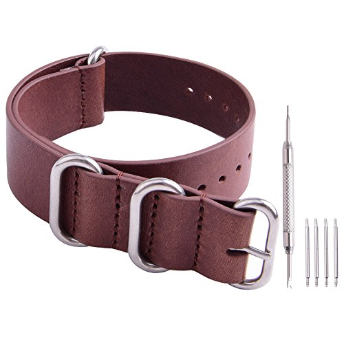 Ritche Genuine Leather NATO strap 22mm Brown Replacement timex weekender watch band