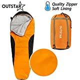 sleeping bag - OUTSTAR Lightweight Waterproof Mummy Sleeping Bag With Compression Sack for Kids or Adults Outdoor Camping, Travelling, Hiking & Backpacking (Orange & Black/Right Zip)