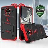Motorola Moto Z Case, Zizo [Bolt Series] with FREE [Moto Z Screen Protector] Kickstand [12 ft. Military Grade Drop Tested] Holster Belt Clip- Moto Z