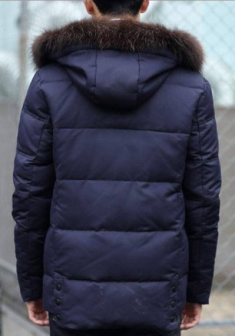 Keaac Men Thicken Down Jacket Coat Hooded Pocket Trench Coats Down Jackets