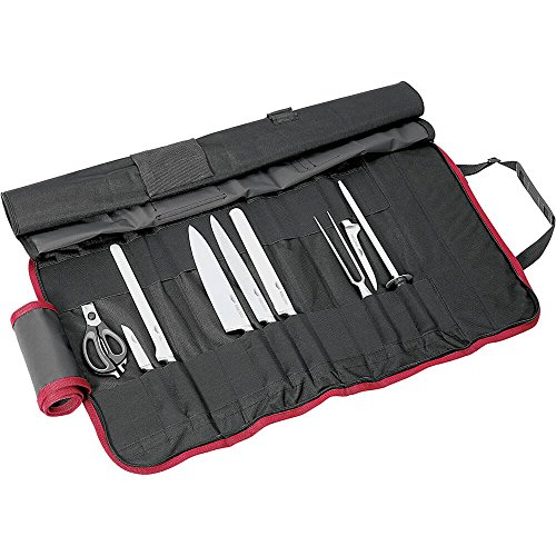 Paderno World Cuisine 9 Piece Cutlery Roll bag with one each Chef's Knife, Slicing Knife, Ham Knife, Boning Knife, Paring Knife, Bread Knive, Chef's Fork, Sharpening Steel and Kitchen Scissors