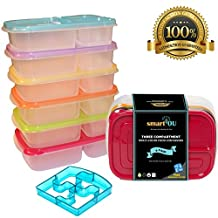 smartYOU Products 3-Compartment Multicolored Bento Lunch Box Meal Prep Containers for Adults & Kids (6 Pack) + FREE Puzzle Sandwich Cutter! - BEST QUALITY! New Updated Design!