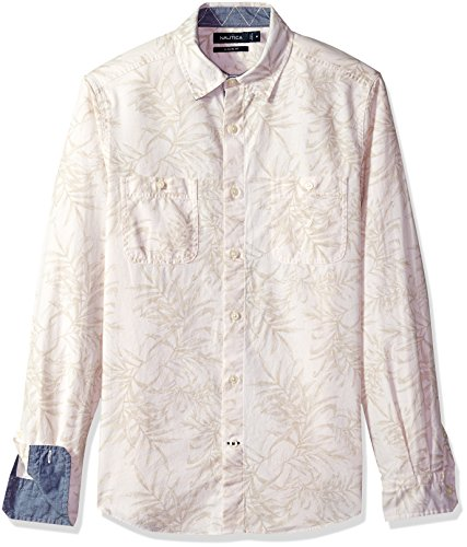Nautica Mens Long Sleeve Chambray Button Down Shirt