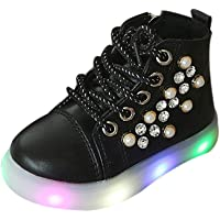 Children Baby Girls Pearl Crystal Led Light Luminous Running Sport Boots High Top Casual Shoes Cross-Tied Flashing Shoes Toddler Christmas Halloween Glitter Shoes