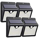 Solar Lights Outdoor 150 LED, Solar Motion Sensor Lights with 120° Wide-Angle Detection Wireless Waterproof Bright Solar Security Lights for Garden Patio Yard Deck Fence (4 Pack)