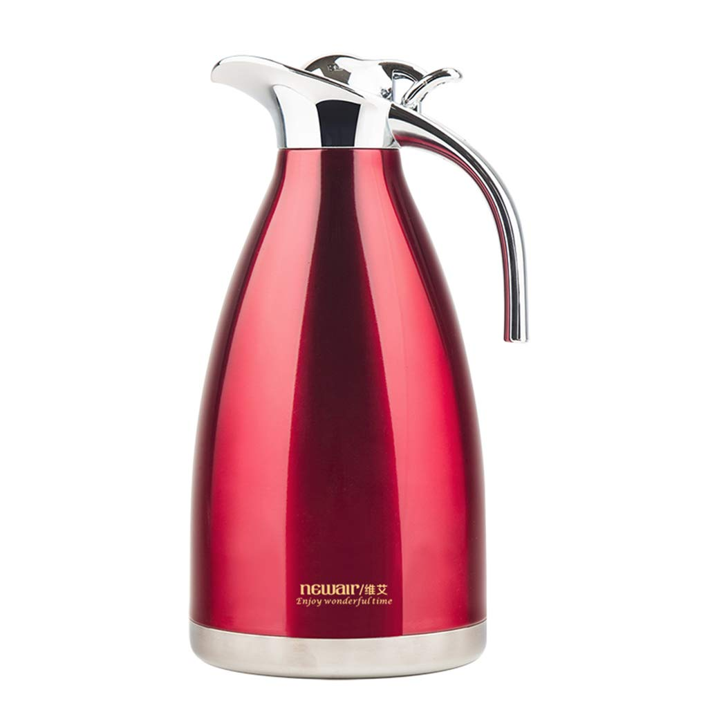 2 Litre Household Kettle European Style High Capacity Vacuum Coffee Pot Stainless Steel Insulated Thermal Carafe Flasks (Color : Rose Red, Size : 2.0L)