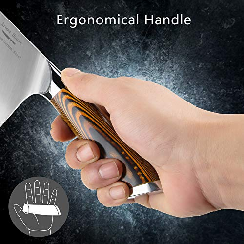 Aroma House Chinese Chef's Knife-7 inch Vegetable and Meat Cleaver Knife, German Stainless Steel Kitchen Knife with Full-tang Pakkawood Handle for Home, Kitchen & Restaurant, Gift Box by Aroma House (Image #2)