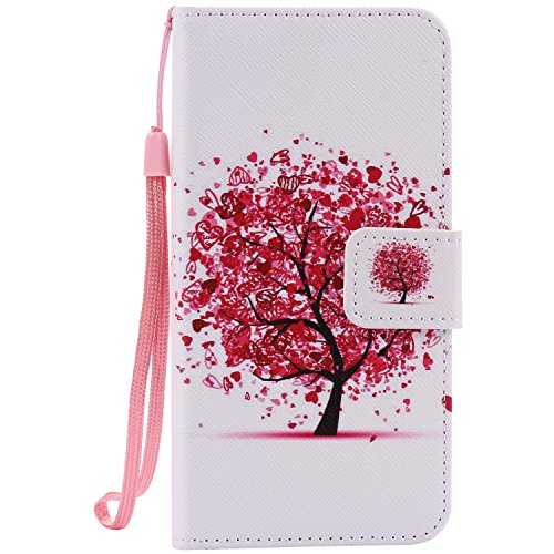 (Ostop Colorful Painted Leather Wallet Case for iPhone 8 Plus,iPhone 7 Plus Case,[Kickstand Feature] Red Heart Tree Printed White PU Magnetic Flip Cover with Card Slots Wrist Strap Shockproof Shell)