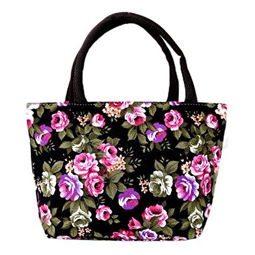 Canvas hand coloured flower bag Peony stylish bright for durable Skyflying Black mom grandma O6gAq6w