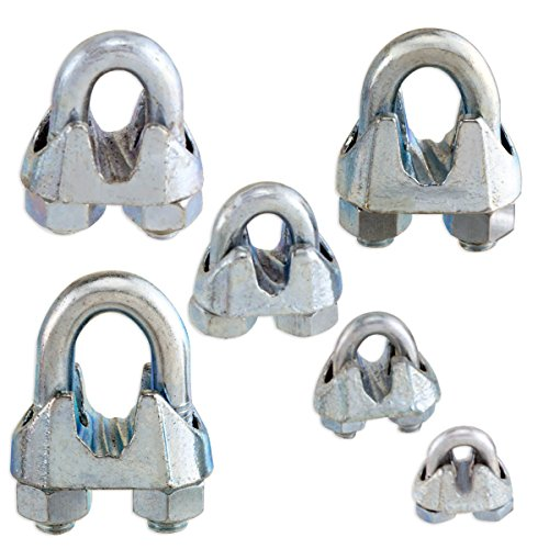 Non-Rust Zinc-Galvanized Steel Malleable Wire Rope Cable Clip Clamp - Choose from 6 Sizes Clip size: 1/8""