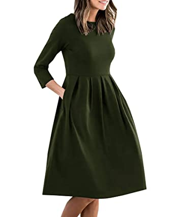 8cb8946756 Eurivicy Womens 3 4 Sleeve A-Line Pleated T Shirt Dress Spring Pocket Midi