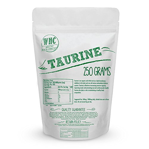 Taurine Powder 250g (500 Servings) | Enhanced Workout Capacity | Mood Support | Heart and Eye Health | Cardiovascular Health | Mascular Degeneration | Fat Loss