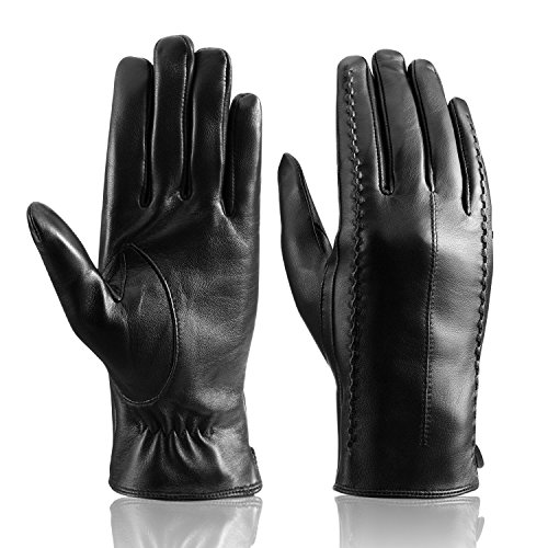 Women's Touchscreen Winter Genuine Leather Warm Soft Cashmere Lining Driving Gloves by Bthdhk (Large),Black ()