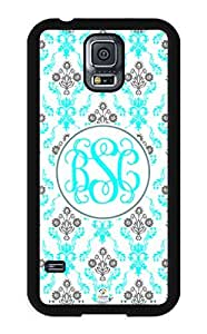 iZERCASE Samsung Galaxy S5 Case Monogram Personalized Aqua and Grey Damask Pattern RUBBER CASE - Fits Samsung Galaxy S5 T-Mobile, Sprint, Verizon and International (Black)