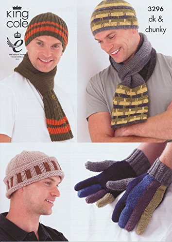 King Cole Mens DK Chunky Knitting Pattern Ribbed & Striped Hats, Scarves & Gloves - (Mens Scarf Knitting Pattern)