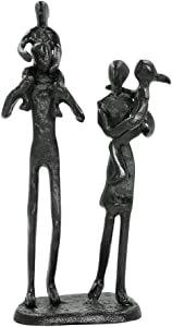 DreamsEden Rustic Family Figurines, Cast Iron Art Home Decoration Statue with Gift Card for Anniversary Birthday (Family of Four Carrying)