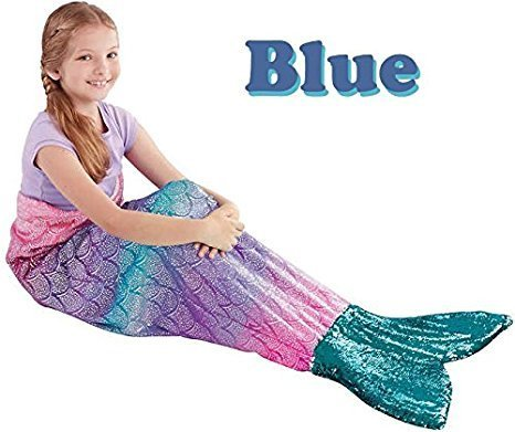 Acer designs for girls Plush and Playful Mermaid Tail Throw Blanket For Girls colorful Sequins (Blue -