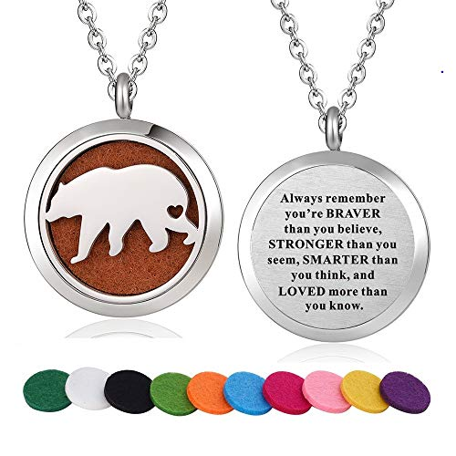 Black Peace Necklace - WPFdesign Stainless Steel American Bear Aroma Therapy Aromatherapy Essential Oil Diffuser Necklace Locket Pendant (Style 34)