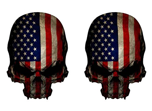 NEW 2 Skull Decal American Flag Military Window Car Truck Bumper Bike Laptop Decals Sticker 4 inch - Sunglass Japanese Brands