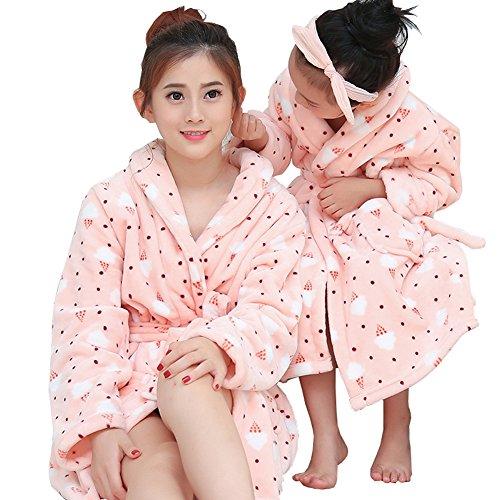 Mujeres y Niños Bata de Baño Ropa de Dormir Nuevas Túnicas Espesas Franela Suave Rosa