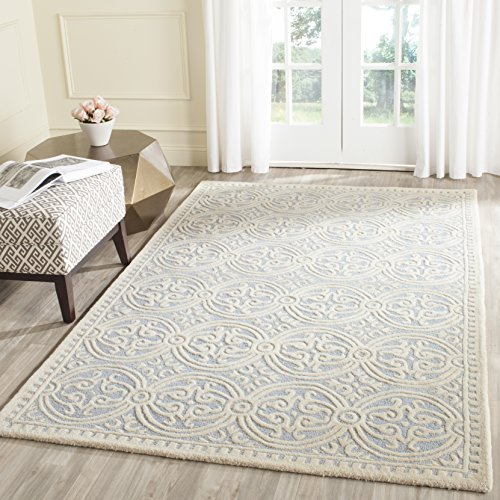 Safavieh Cambridge Collection CAM123A Handcrafted Moroccan Geometric Light Blue and Ivory Premium Wool Area Rug (8