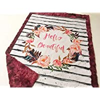 "Baby Girl Hello Beautiful Crib Minky Blanket Infant Toddler 28""x40"""