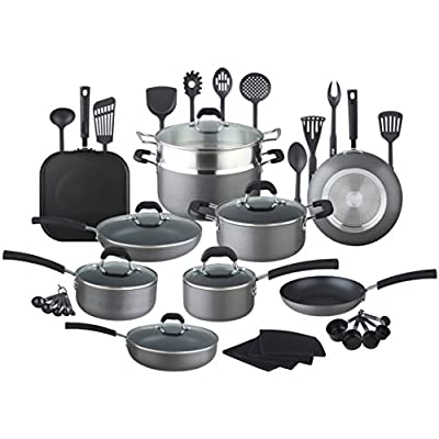 HULLR 40-Piece All In One Essentials Hard Anodized Aluminum Nonstick Cookware Set with Eco Induction Evolution Technology, Works On All Cook Tops