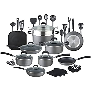 hullr 40 pieces all in one essentials hard anodized pots and pans aluminum nonstick. Black Bedroom Furniture Sets. Home Design Ideas