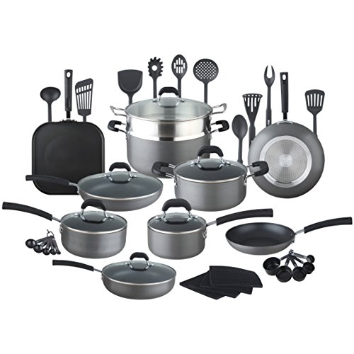 HULLR 40-Pieces All In One Essentials Hard Anodized Pots And Pans Aluminum Nonstick Cookware Set with Eco Induction Evolution Technology, Works On All Cook Tops by HÜLLR