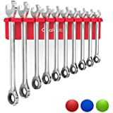 Olsa Tools Magnetic Wrench Organizer (Red)   Wrench Holder Fits Wrenches SAE 3/8' Thru 15/16' & Metric 10mm Thru 19mm…