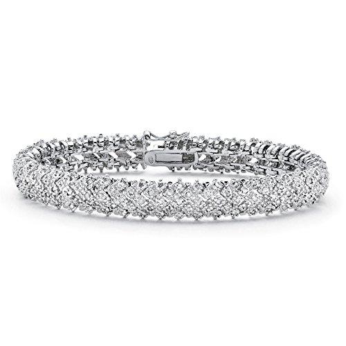 Palm Beach Jewelry Snake Link Tennis Bracelet (10mm), 7/8 cttw Round Diamond, 7