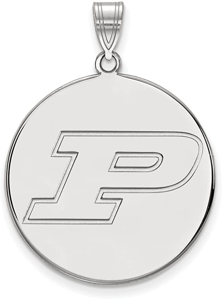 32mm x 25mm Solid 925 Sterling Silver Official Purdue XL Extra Large Big Disc Pendant Charm