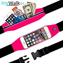 """JoyWalker Running Belts Waist Fanny Pack for iPhone 7, 7 Plus, 6s, 6s Plus, 6, 6 Plus, Galaxy J7, S5, S6, S7, Edge, Note 3 4 5, LG G3, G4, G5 Plus (Under 5.5"""" Touch Screen) (Hotpink)"""