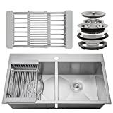 Firebird 33'' x 22'' x 9'' Handmade 18 Gauge 50/50 Double Bowl Basin Topmount Drop-in Kitchen Sink w/ Adjustable Dish Tray & Strainer
