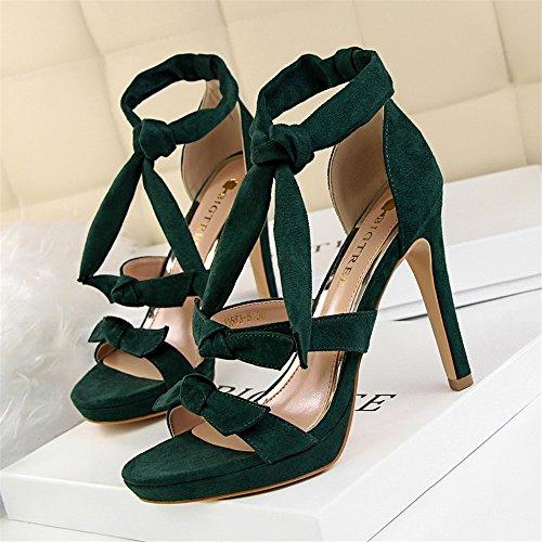 z&dw Moda mariposa nudo tacones altos impermeable tabla hueca una palabra con sandalias Verde