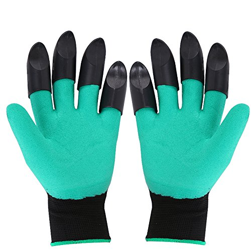 FENG Garden Genie Gloves, Both Hand Claws Gardening Gloves, Quick & Easy to Dig & Plant, Safe for Rose Pruning (Right + Left Claw 1 (Easy Fit Gloves)