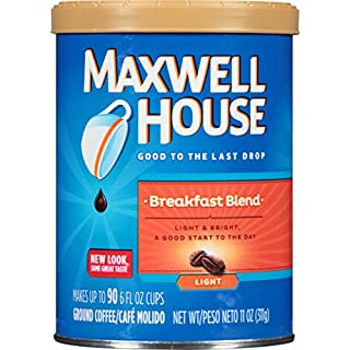Maxwell House Breakfast Blend Light Roast Ground Coffee (11 oz Canisters, Pack of 3)