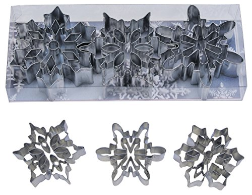 R&M International 1920 Snowflake Cookie Cutters with Interior Cut-Outs, 3 Assorted, 3-Piece Set