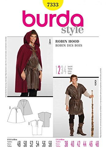 Burda Mens Easy Sewing Pattern 7333 Cape, Shepherd & Robin Hood Costume -