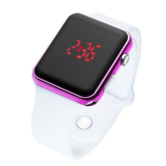 broje cuadrado Fashion morado reloj digital LED correa de silicona relojes para las niñas niños Navidad regalos: BROJET: Amazon.es: Relojes
