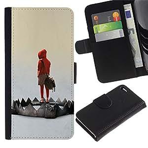 EJOY---Tirón de la caja Cartera de cuero con ranuras para tarjetas / Apple Iphone 4 / 4S / --Emo Trampa